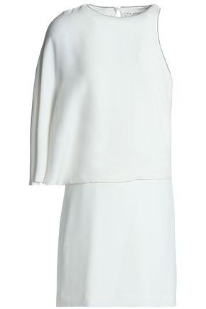 HALSTON HERITAGE Asymmetric layered crepe mini dress