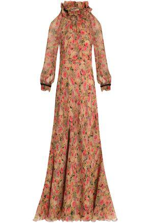 VILSHENKO Ruffle-trimmed floral-print silk-georgette maxi dress