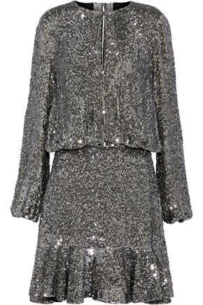 ALEXIS Fluted sequined silk mini dress