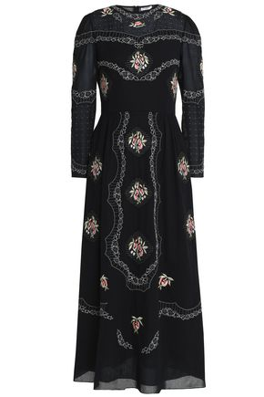 VILSHENKO Embroidered cotton-voile midi dress