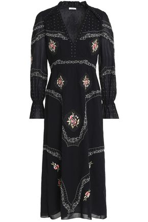 VILSHENKO Embroidered cotton midi dress