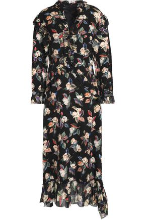 VILSHENKO Ruffled voile-trimmed floral-print wool and silk-blend faille midi dress