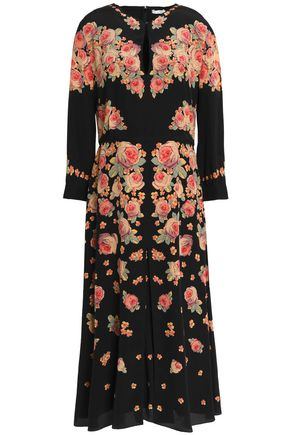 VILSHENKO Floral-print silk-crepe de chine midi dress