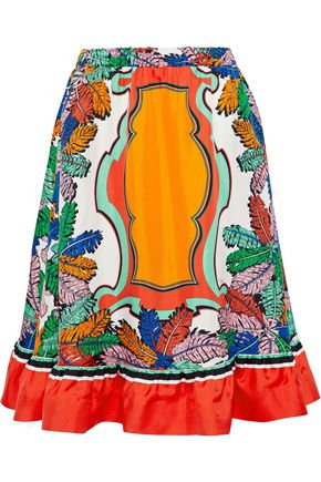 EMILIO PUCCI Fluted printed silk-twill skirt