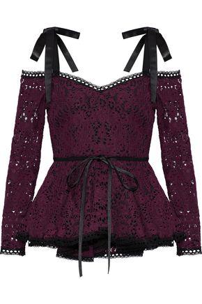 ALEXIS Krysten cold-shoulder corded lace peplum top