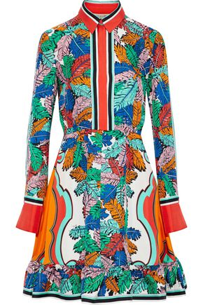 EMILIO PUCCI Fluted printed silk-twill mini shirt dress