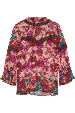 ANNA SUI Ruffle-trimmed floral-print silk-georgette blouse