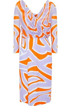 EMILIO PUCCI Wrap-effect printed stretch-jersey dress