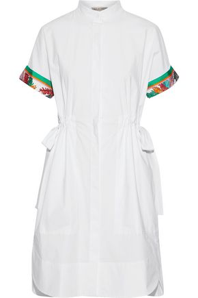 Printed Silk Twill Trimmed Cotton Blend Shirt Dress by Emilio Pucci