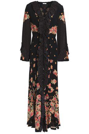 VILSHENKO Ruffle-trimmed floral-print silk crepe de chine midi dress