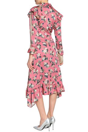 VILSHENKO Ruffle-trimmed floral-print wool and silk-blend faille midi dress