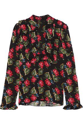 ANNA SUI Ruffled floral-print cloqué blouse