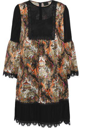 ANNA SUI Pagoda fil coupé printed chiffon dress