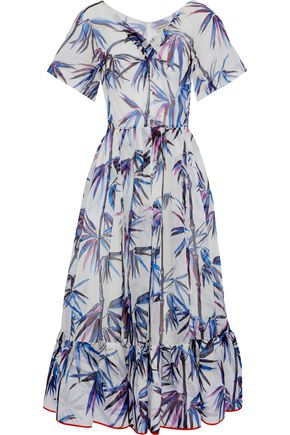 EMILIO PUCCI Printed embroidered organza midi dress