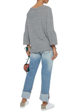 CURRENT/ELLIOTT Frayed cotton-blend terry sweatshirt
