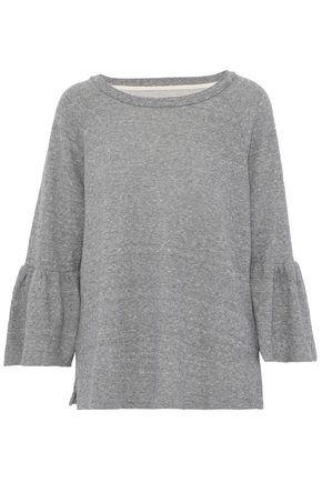 CURRENT/ELLIOTT Frayed cotton-blend terry sweatshirt