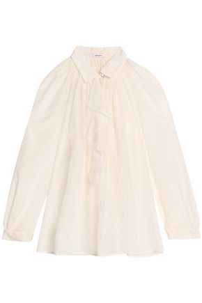 VILSHENKO Ruffled-trimmed cotton and silk-blend blouse