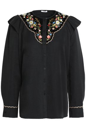 VILSHENKO Embroidered velvet-paneled cotton and silk-blend faille shirt