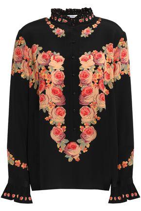 VILSHENKO Ruffle-trimmed floral-print silk blouse