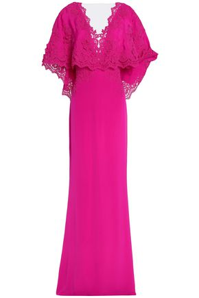 MARCHESA Corded lace-trimmed layered crepe de chine gown