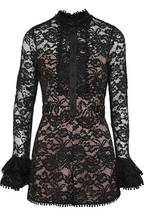 ALEXIS Alive satin-trimmed corded lace playsuit