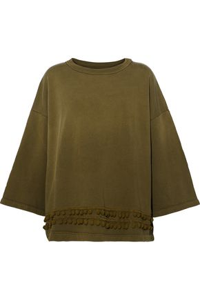 CURRENT/ELLIOTT Oversized pompom-embellished cotton-jersey sweatshirt