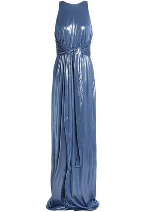 HALSTON HERITAGE Tie-front lamé gown