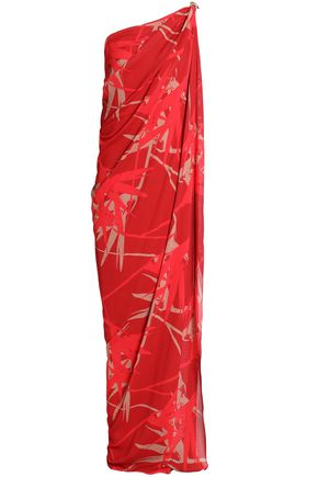 HALSTON HERITAGE One-shoulder draped printed crepe gown