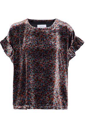 CURRENT/ELLIOTT Janie floral-print velvet top