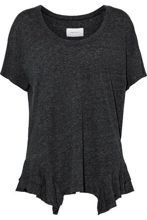 CURRENT/ELLIOTT The Tier ruffle-trimmed marled cotton-blend jersey T-shirt