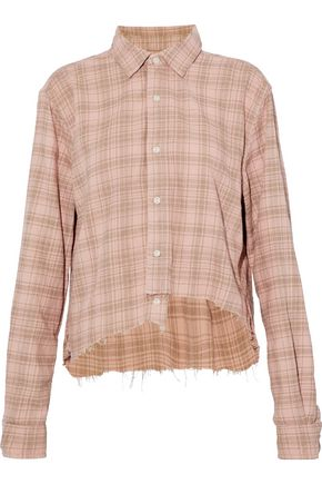 CURRENT/ELLIOTT The Mell asymmetric frayed checked cotton-twill shirt