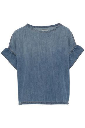 CURRENT/ELLIOTT Ruffle-trimmed faded denim top
