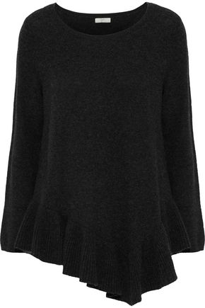 MAJESTIC FILATURES Asymmetric ruffle-trimmed wool and cashmere-blend sweater