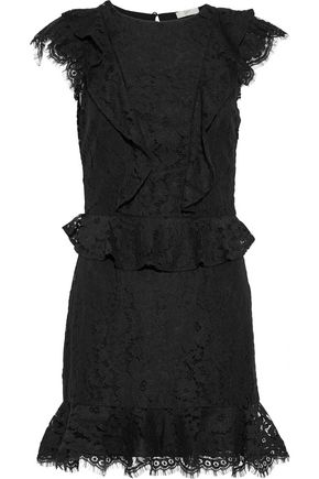 JOIE Acostas ruffle-trimmed corded lace mini dress