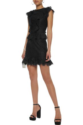 Acostas Ruffle Trimmed Corded Lace Mini Dress by Joie