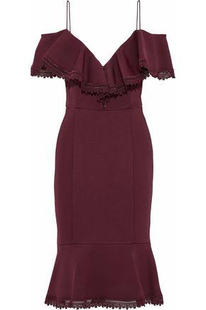 NICHOLAS Cold-shoulder ruffle-trimmed cady dress