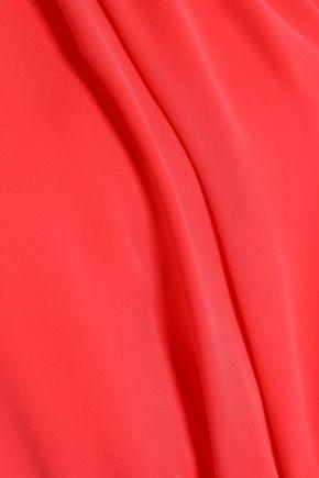 HALSTON HERITAGE Split-front layered crepe jumpsuit