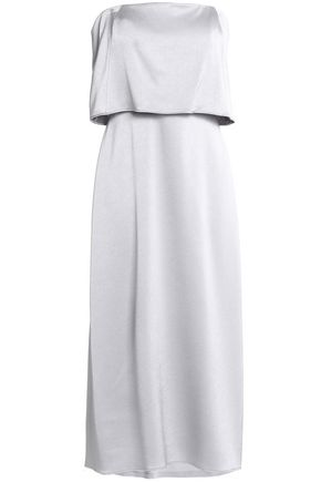 HALSTON HERITAGE Strapless layered satin-crepe midi dress