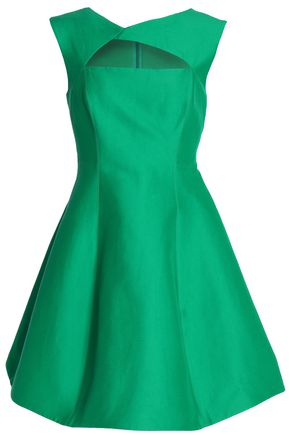 HALSTON HERITAGE Flared cutout cotton and silk-blend dress