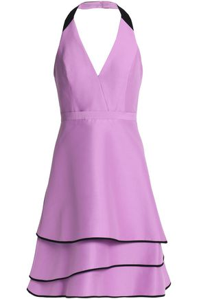 HALSTON HERITAGE Tiered cotton and silk-blend halterneck dress