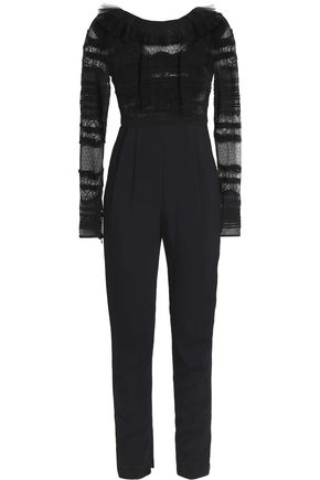 ZUHAIR MURAD Tulle-trimmed lace and crepe jumpsuit