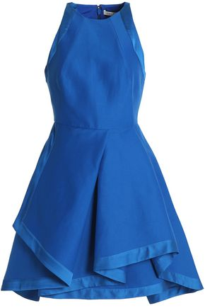 HALSTON HERITAGE Satin-trimmed cotton and silk-blend crepe mini dress