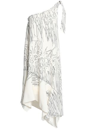 HALSTON HERITAGE One-shoulder printed crepe dress