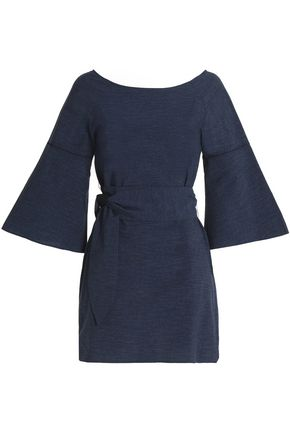 HALSTON HERITAGE Cotton-chambray mini dress