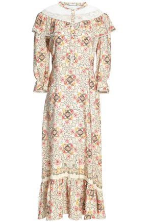 VILSHENKO Point d'esprit-paneled floral-print silk midi dress