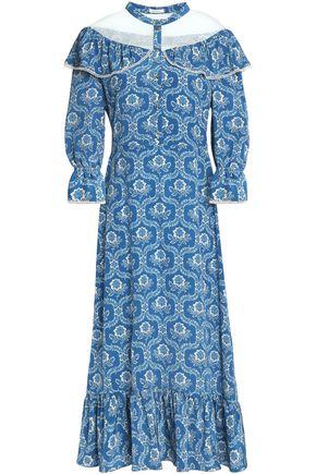 VILSHENKO Ruffle-trimmed floral-print silk midi dress