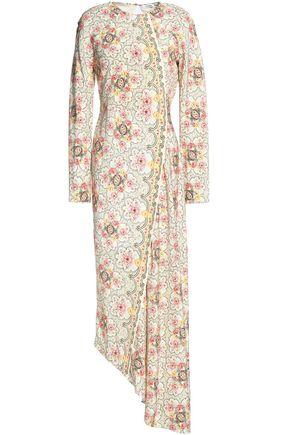 VILSHENKO Asymmetric printed silk crepe de chine midi dress