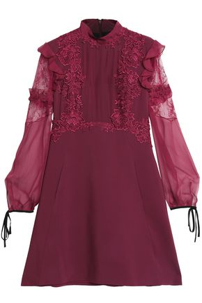 ZUHAIR MURAD Lace-trimmed paneled silk and cotton-blend voile and crepe mini dress