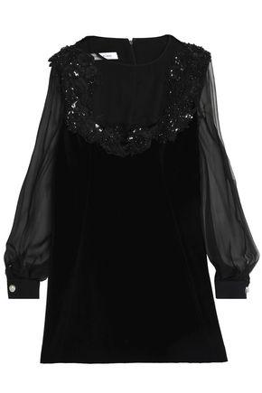 ZUHAIR MURAD Appliqued chiffon-paneled silk and cotton-blend velvet mini dress