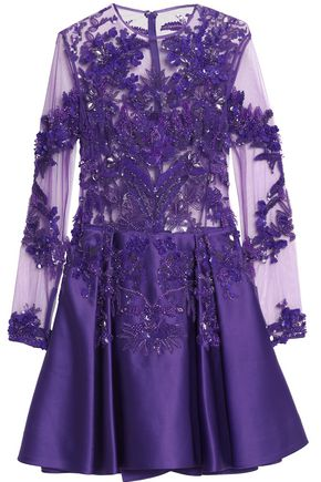 ZUHAIR MURAD Embellished tulle and duchesse silk-blend satin dress